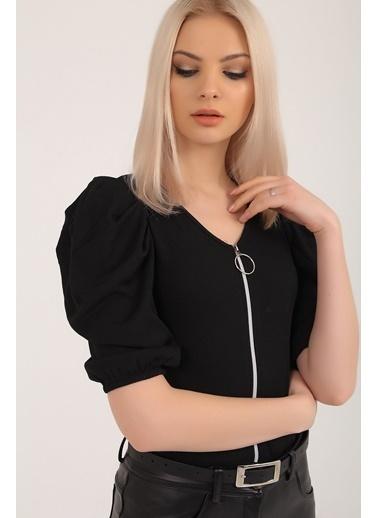 Emjey Önü Fermuarlı Karpuz Kol Bluz Siyah